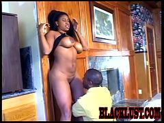 His huge black cock makes this curvy ebony get high