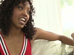 Cute cheerleader Lotus Lain sucks a wang before taking it in her poontang