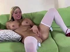 European blonde in uniform fucks older British dude