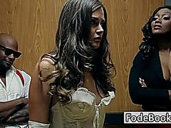 Brunette in lift with Jada Fire