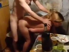 Amateur GF is screwed bad in a doggy position in the kitchen