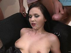 Ally Style receives hot cumshot load in gangbang scene