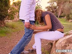 Kazzandra-z blows and gets fucked from behind in the park