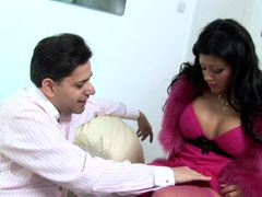 Slutty MILF in pink lingerie gets a huge load on her face