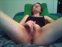 rubbing her pussy to a relaxing orgasm
