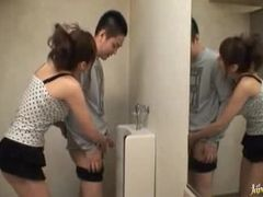 Horny Asian In Stockings Gets In The Male's Bathroom To Blowjob