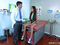 Doctor and his skinny patient with big tits fuck