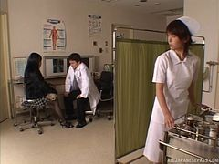 Japanese doctor gets frisky with his new patient and fondles her tits