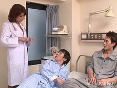Japanese doctor gives hand to two men and enjoys a DP