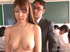 Fantastic asian schoolgirl Azumi Kinoshita gets banged by a group of horny studs