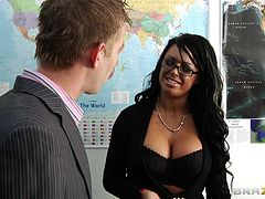 Geography teacher Kerry Louise gives a titjob and gets fucked hard