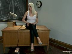 Filthy teacher gets hogtied and balled by a machine