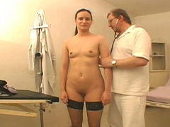 Alena lets her gynecologist examine her pussy with a vaginal speculum