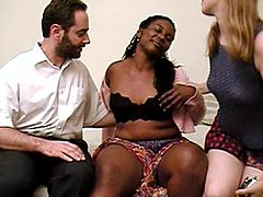 Hardcore FFM interracial video with a nerdy amateur bitch