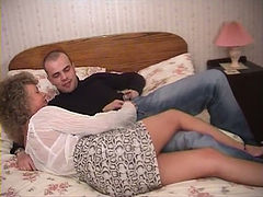 Mature whore blows and gets her twat fingered and fucked