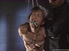 Horny and cute Japanese bitch in bondage gets teased and fingered perfectly